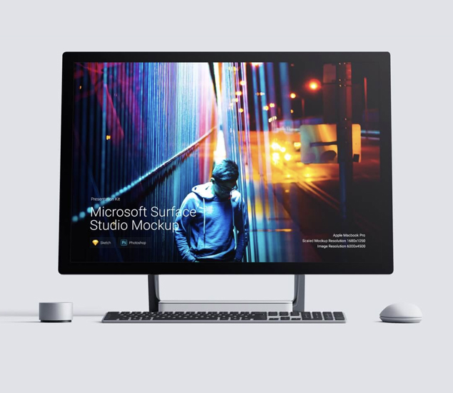 Microsoft Surface Studio mockups. Beautiful mockup set with a lot features