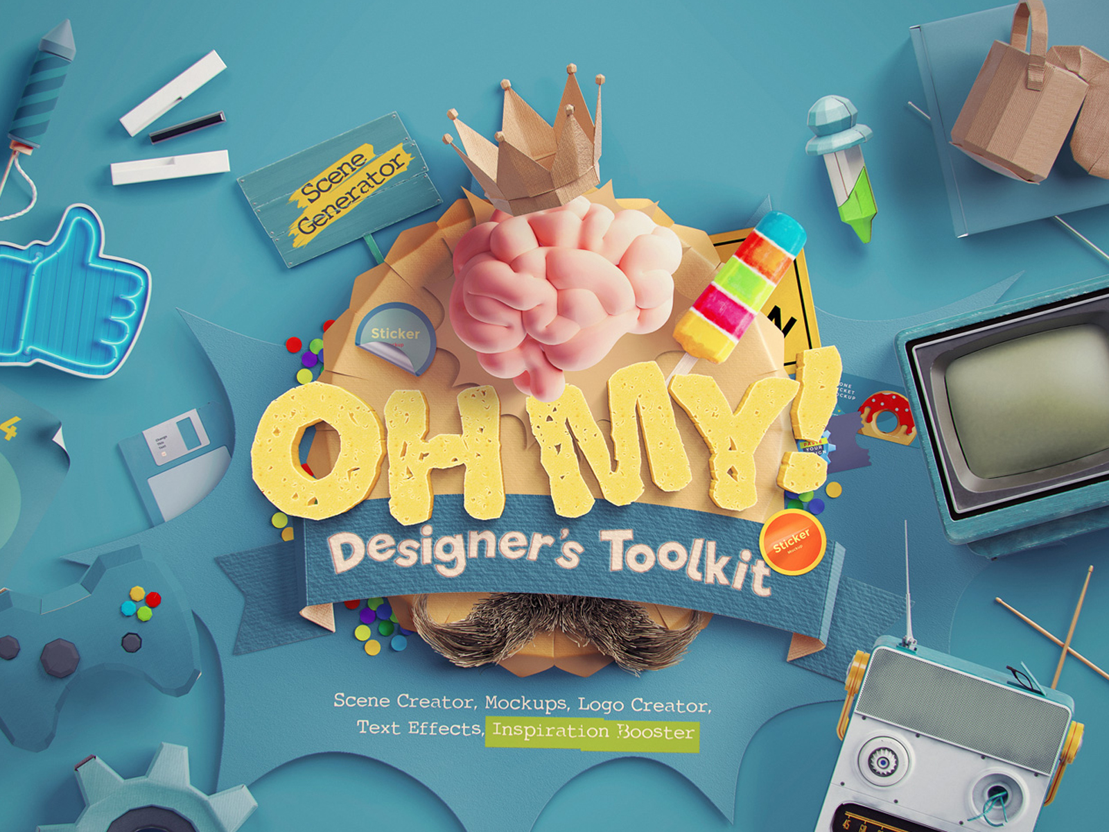 Scene Creator, Mockups, Logo Creator, Text Effects, Inspiration Booster